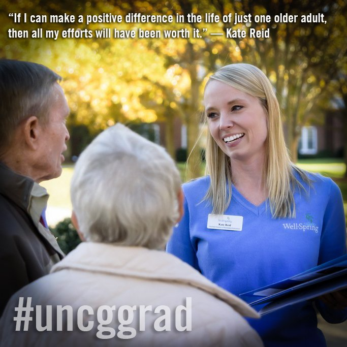 Kate Reid, earning a master's in gerontology & an MBA, is our final #uncggrad profile ahead of Commencement.  https://t.co/8e1thi1zPu https://t.co/FxLYBCI8HJ