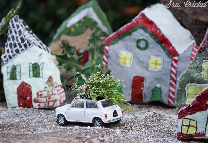 manualidades navideñas un pueblito navideño de piedras