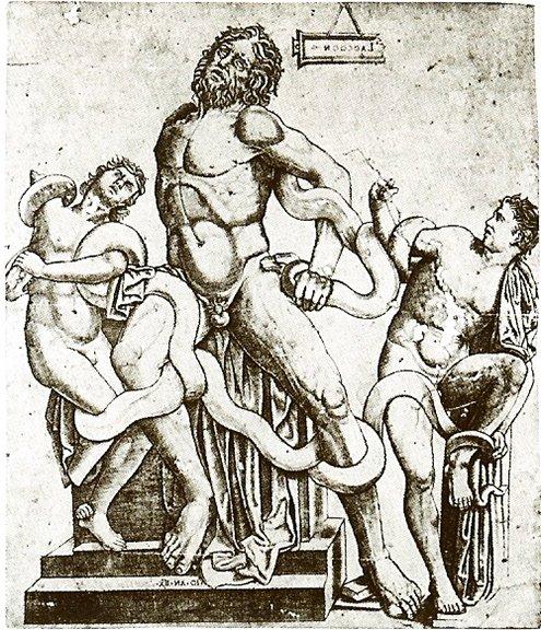 Laocoonte y sus hijos, por Giovanni Antonio da Brescia, 1506-1508, Grabado de 265 x 237 mm., Londres, British Museum #ASG #storart1 https://t.co/4leXQz1rmD