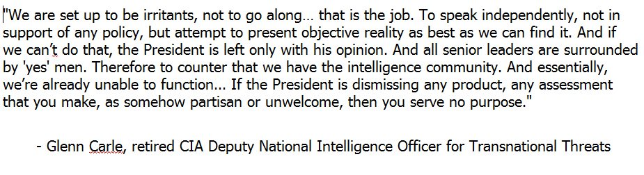 Rejection of analysis in Carle's view amounts to PEOTUS rejection of entire purpose of intel community. https://t.co/5IuVoEQEM2