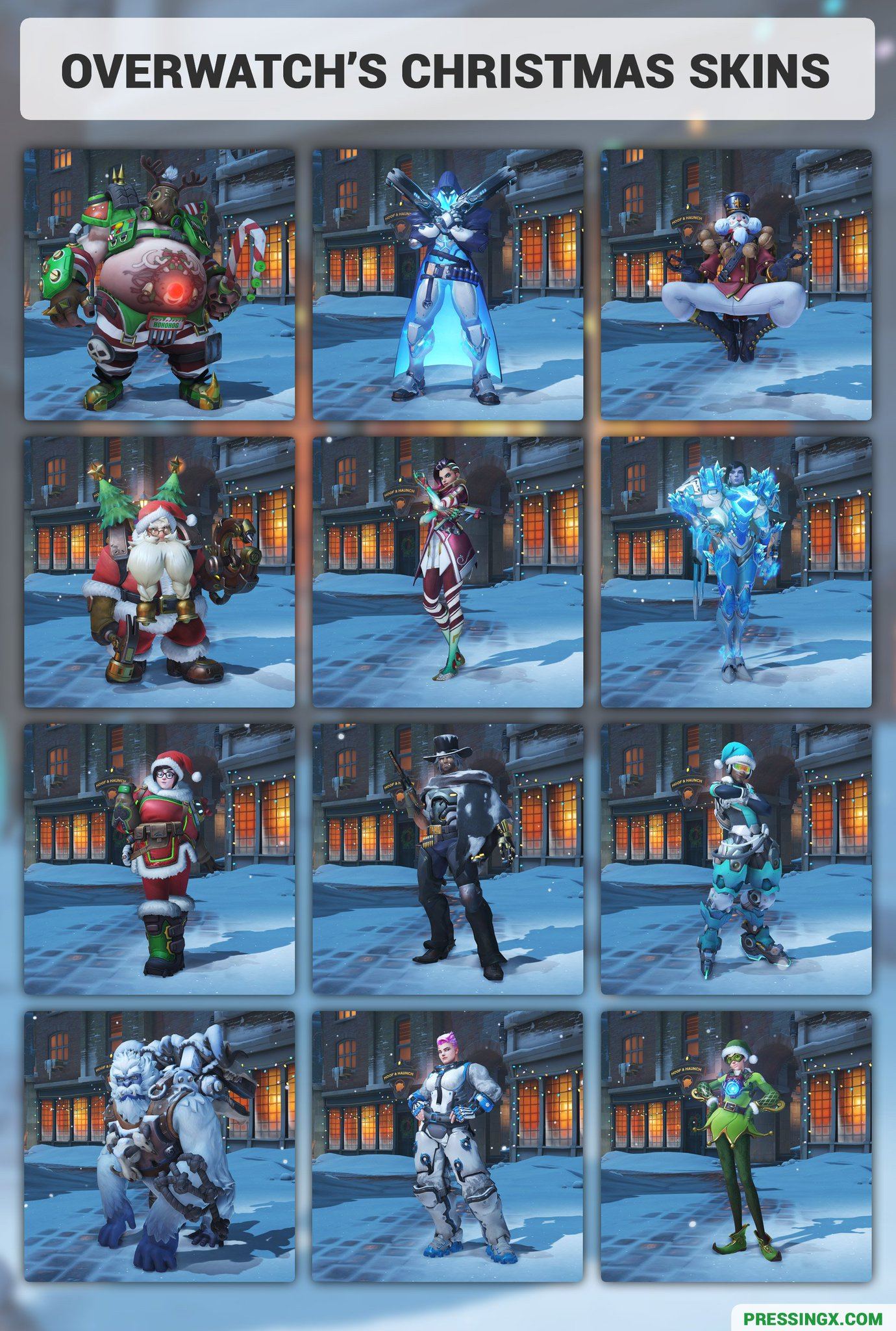 Overwatch Christmas Skins 2021 Pressing X On Twitter Here S All Of The New Overwatch Christmas Skins In One Image