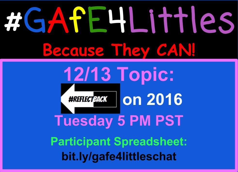 Today during the #gafe4littles chat we are reflecting back on 2016. Access the questions here: https://t.co/Yh2qbFkC6C https://t.co/9dttu9wPVN