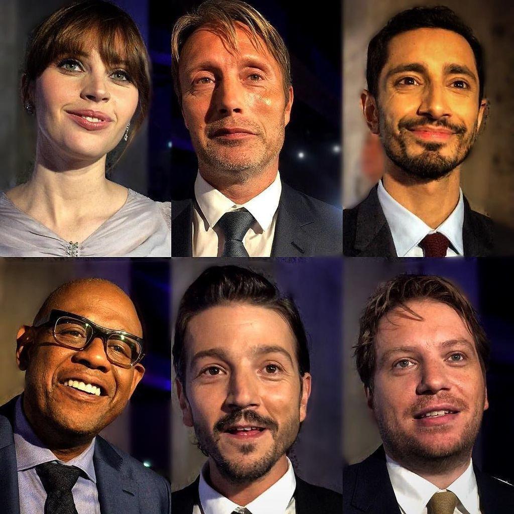 The #RogueOne #Starwars cast in London #madsmikkelsen @diegoluna_ #felicityjones #rizahmed… https://t.co/h0btaysV8Y