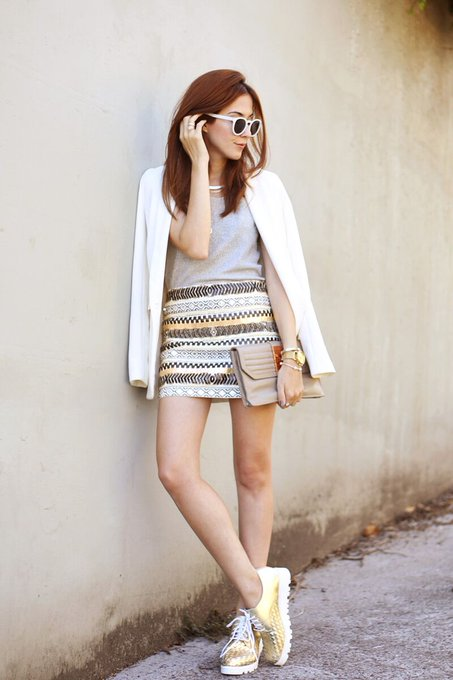 Casual Chic Outfit: Silver and Gold