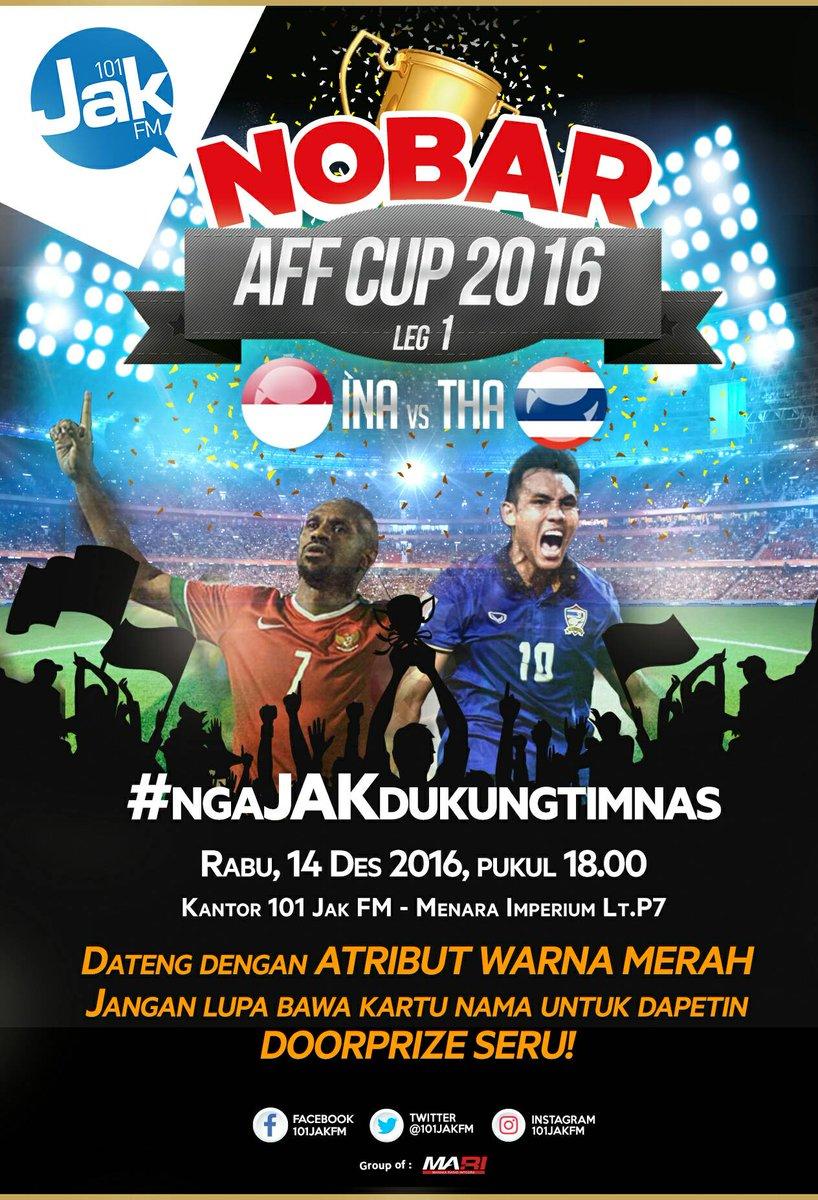 JAKartans, yuk ikutan #ngaJAKdukungtimnas dgn nonton bareng Final AFF Indonesia VS Thailand di kantor @101Jakfm.Jangan sampai gak dateng ya! https://t.co/fZky2Xtby2