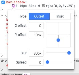 Chrome 55 introduced a visual box-shadow editor in DevTools. https://t.co/SiV7i4WALk