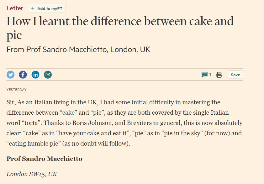 - @FT letter writer on Brexit and the difference between cake and pie  https://t.co/Jxfu0hsjZP https://t.co/3P19z2KMsU