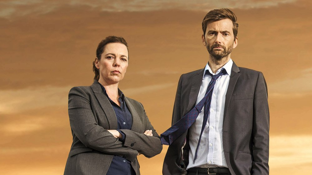 David Tennant and Olivia Colman from the previously released Broadchurch Series Three promo photo