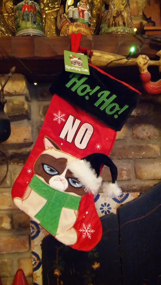 'Twas 11 days b4 Christmas! Hung from the chimney with care! @RealGrumpyCat Stocking fur Santa to fill w/Grumpness! https://t.co/9uR4SoZArM