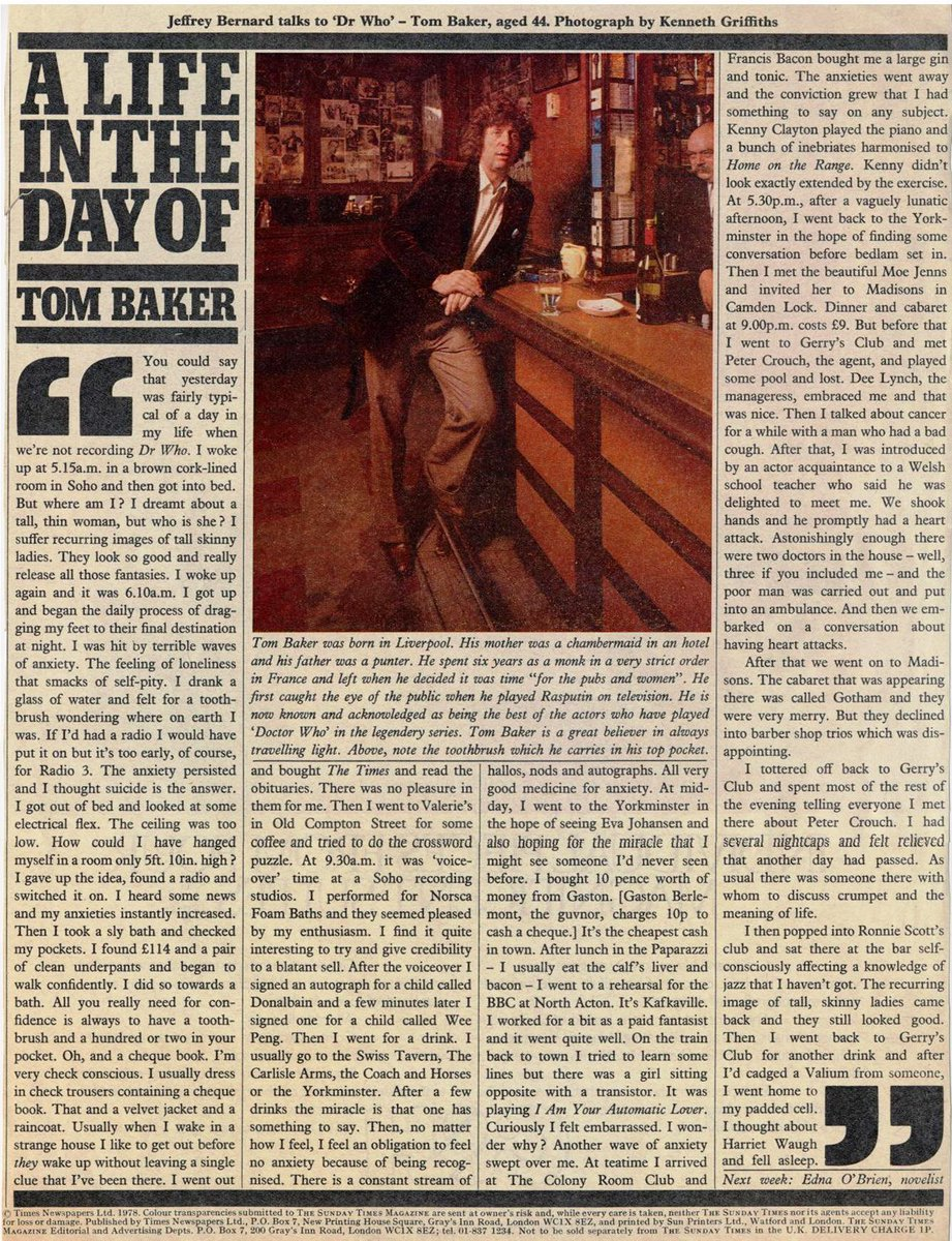 A life in the day of Tom Baker, 1978. Quite incredible. https://t.co/fjcygszRLP