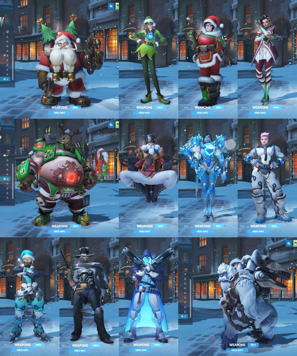 Overwatch Christmas 2019 Skins.Overmag On Twitter All Christmas Skins In Playoverwatch