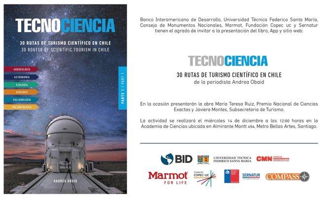 Hoy a mediodía: lanzamiento del libro, app y web 'Tecnociencia: 30 Rutas de Turismo Científico en Chile', de @AndreaObaid
