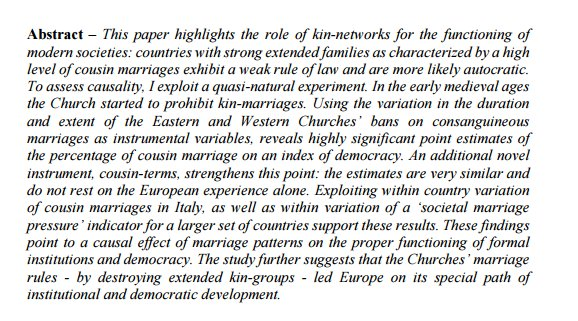 the Catholic Church's ban on cousin marriage made democracy possible centuries later https://t.co/jYMnujDz8C https://t.co/AKQeh5qoqb