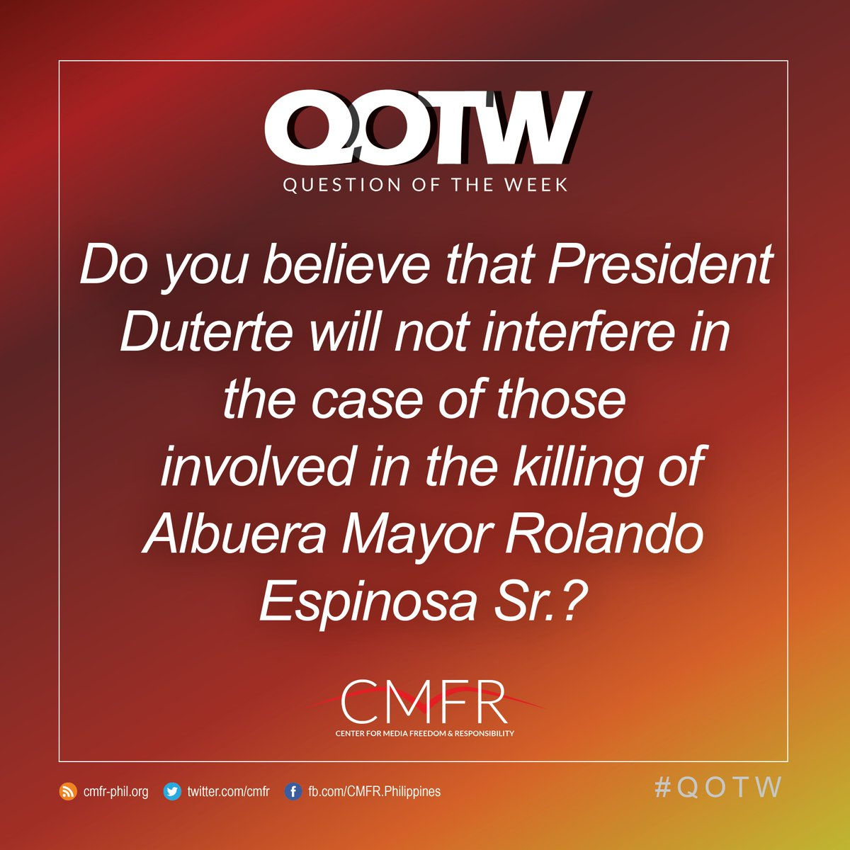 Thumbnail for QOTW: Do you believe that Pres. Duterte will not interfere in the case of cops involved in the killing of Espinosa?