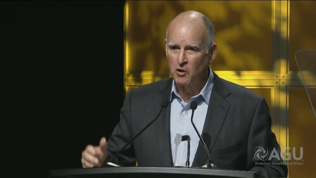 Gov. Jerry Brown speaking to scientists on Dec. 14 in San Francisco (Webstream/American Geophysical Union)