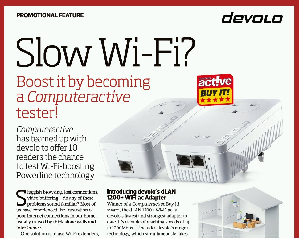 In our current issue you can apply to test devolo's Wi-Fi extenders in your own home - for free. . . @devoloUK https://t.co/V0huSADyP5