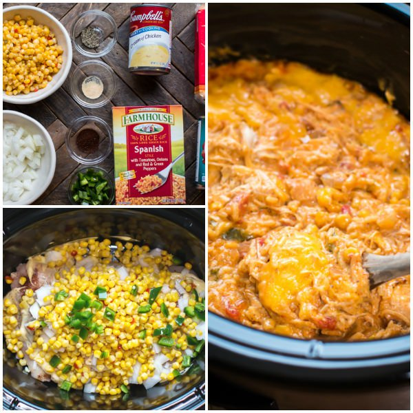 Slow Cooker Fiesta Chicken and Rice Casserole