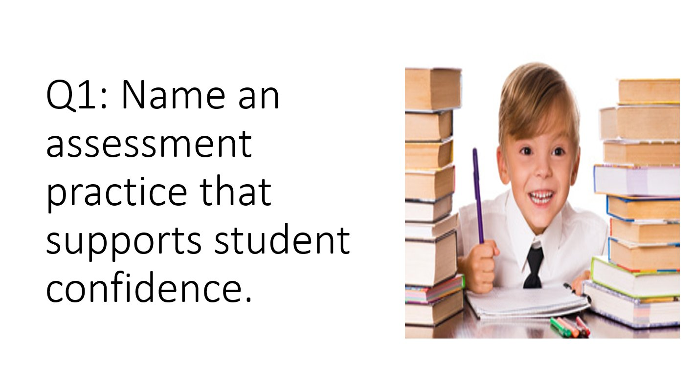 Q1: Name an assessment practice that supports student confidence. #ATAssess https://t.co/pnGyDqaJp3