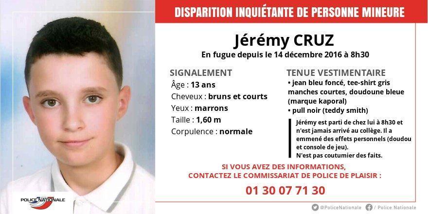 🔴🔴 FLASH - Appel à témoins suite à la disparition d'un collégien de 13 ans dans les Yvelines ➡️ https://t.co/b9rernaG2a