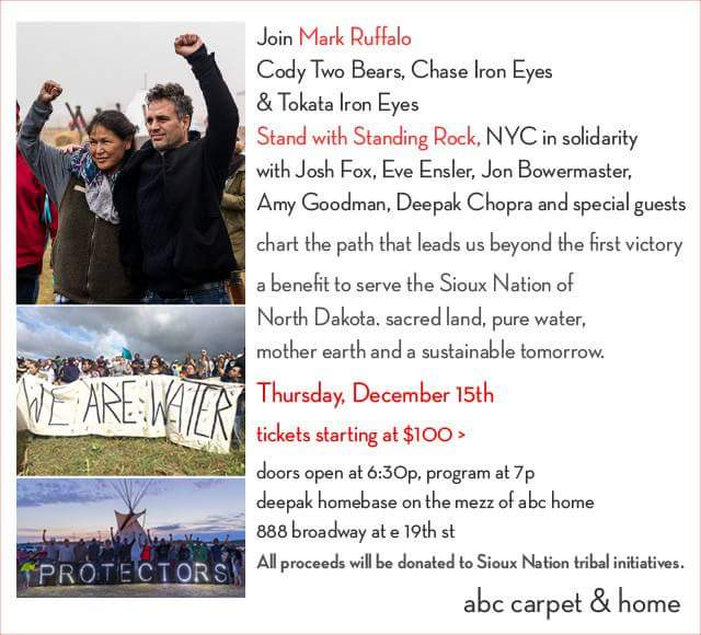 Join Mark Ruffalo, Cody Two Bears, Chase Iron Eyes & Tokata Iron Eyes Stand w/Standing Rock, NYC In Solidarity. #NoDAPL #WaterIsLife 🌲🐻🐾🎆🐺🐟🌎 https://t.co/rVsb9INMCM
