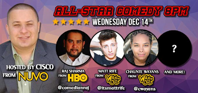 .@CISCOlution @comedianraj @ItsMattRife @cwayans & more perform tonight! Tickets: https://t.co/AmR6QZi3L2 https://t.co/eWQ5FS084U