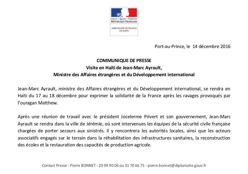 .@jeanmarcayrault, ministre des Affaires étrangères et du Développement international, se rendra en #Haïti du 17 au 18 décembre prochains. https://t.co/CsDsgqrVej