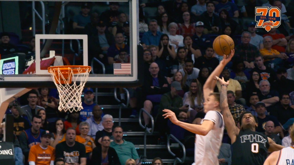 This is absurd. Look at where @kporzee catches this alley-oop from last night. #Knicks https://t.co/1YGLZcN4Qv