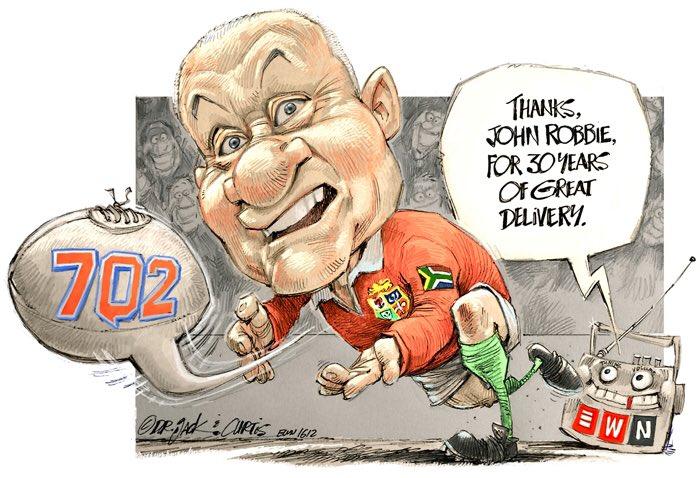 Today's EWN cartoon is a tribute to @702JohnRobbie! It's been a pleasure John - go well. #FarewellJohn https://t.co/QdpPQj7Yjw