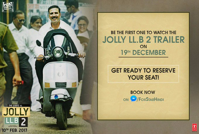You can be the 1st one to watch the #JollyLLB2 Trailer on 19th Dec. Book now: https://t.co/ilWXJfTkAL @akshaykumar @foxstarhindi https://t.co/J3LLRRlDdE