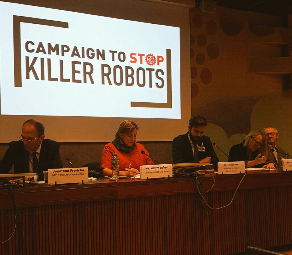 Getting started at @BanKillerRobots briefing at #CCWUN. Speakers @JodyWilliams97 @marywareham @Oikoumene. Moderator @icracnet https://t.co/AsBqVhPOeg