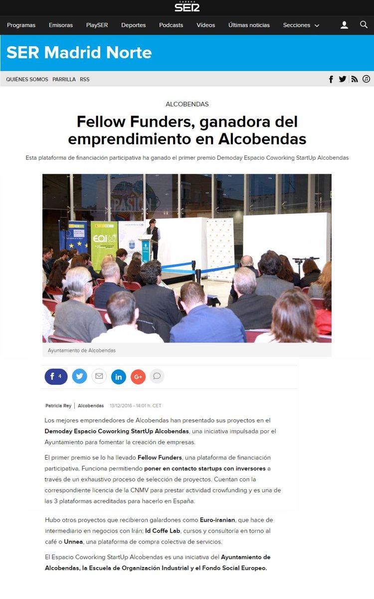 Primeras repercusiones sobre el premio de #FellowFunders al mejor proyecto #startup del #DemoDayAlcobendas https://t.co/O2EbGlzQuk https://t.co/YrzSNatgeT