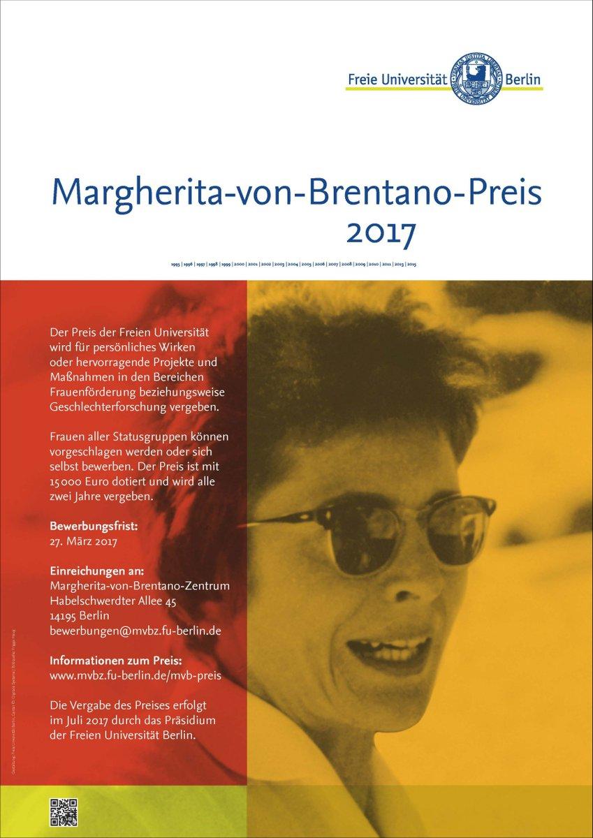 mvbz fu berlin on twitter margherita von brentano preis 2017 fr besondere leistungen in geschlechterforschung gleichstellung ausgeschrieben - Fu Berlin Bewerbung