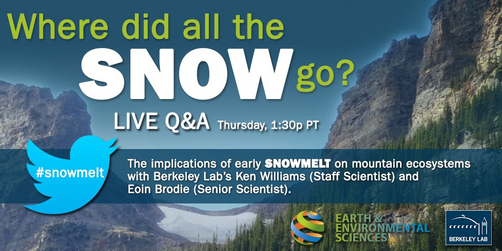 Have a question about the implications of #snowmelt? Ask it now! Our scientists will begin answering your questions at 1:30p PT. #AGU16 https://t.co/k0eN7edGkH
