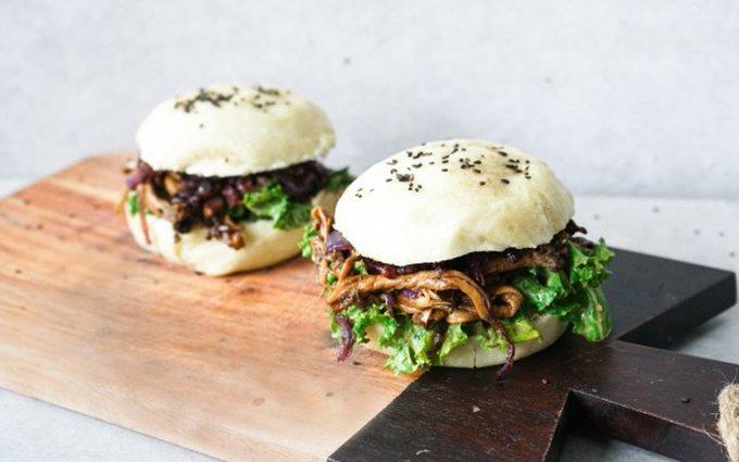 Pulled Oyster Mushroom Bao Burger [Vegan, Gluten-Free]