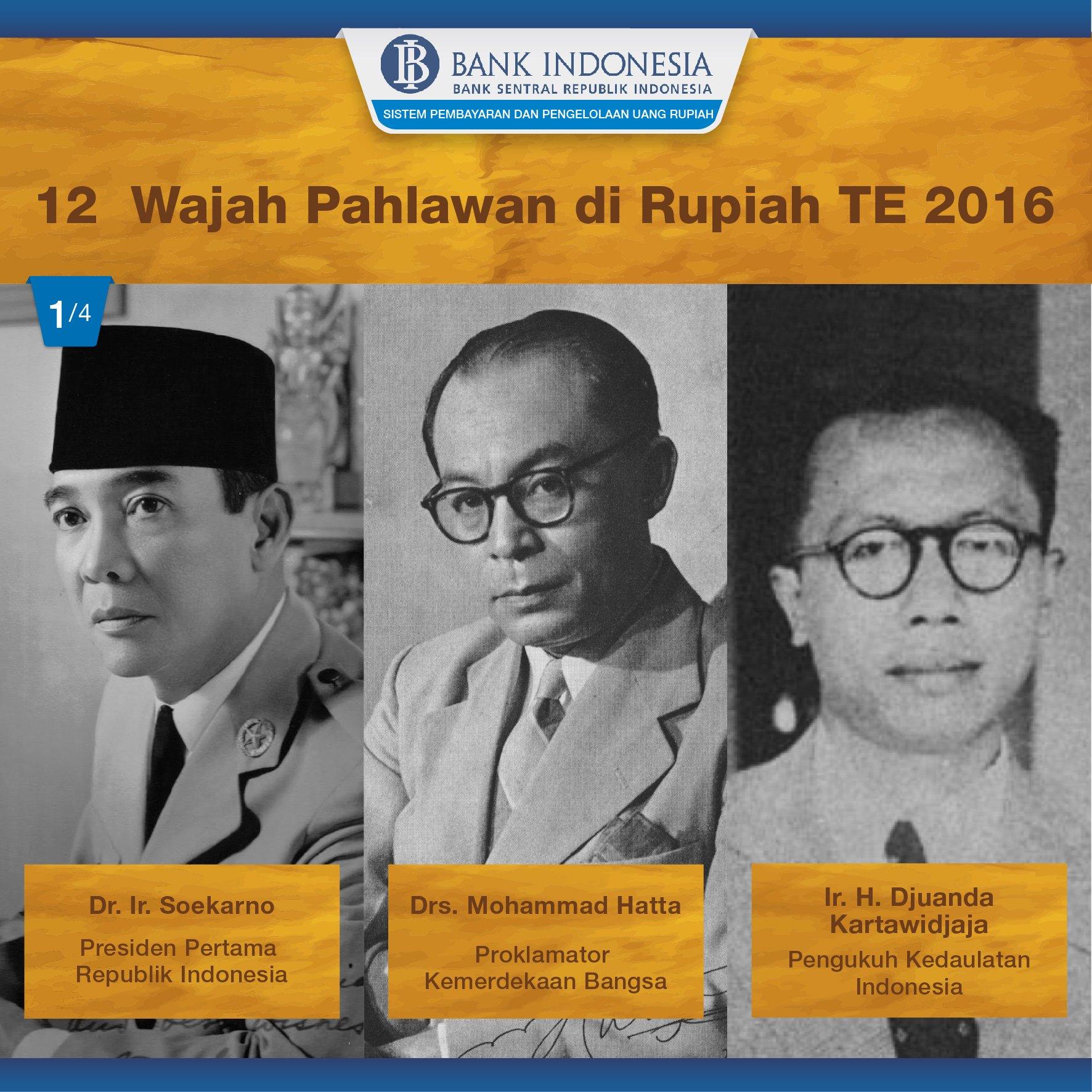 Soekarno dan Mohammad Hatta pada pecahan Rp.100.000 kertas, Djuanda Kartawidjaja pada Rp50.000 kertas #RupiahNKR https://t.co/Th54EDP7MD