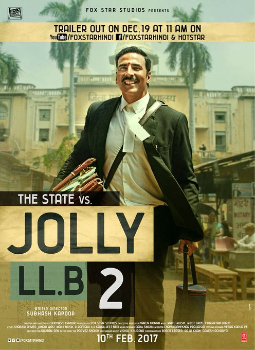 Here is the 2nd official poster. Jolly aa raha hai, #jollyllb2trailer out on December 19 at 11 AM. @foxstarhindi https://t.co/qvtFBn4bdH