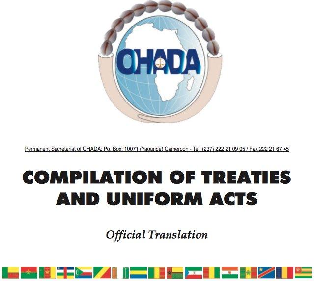 Publication de la version anglaise officielle des #Traités et Actes Uniformes @ohada_officiel #Afrique #OHADA  http:// j.mp/2hNAQpP  &nbsp;  <br>http://pic.twitter.com/mNRm82BOLG