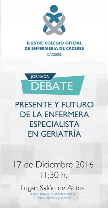"""Mañana sábado tenemos jornada de debate """"Presente y futuro de la enfermera especialista en Geriatría"""", en colaboración con @enfergeronto"""