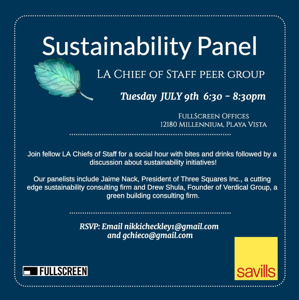 Catch @USGBCLA Board Member and @VerdicalGroup Founder & Principal, Drew Shula, as a panelist for sustainability initiatives at the LA Chief of Staff Peer Group!  Tomorrow, July 9th 6:30-8:30pm in Playa Vista! 🌱