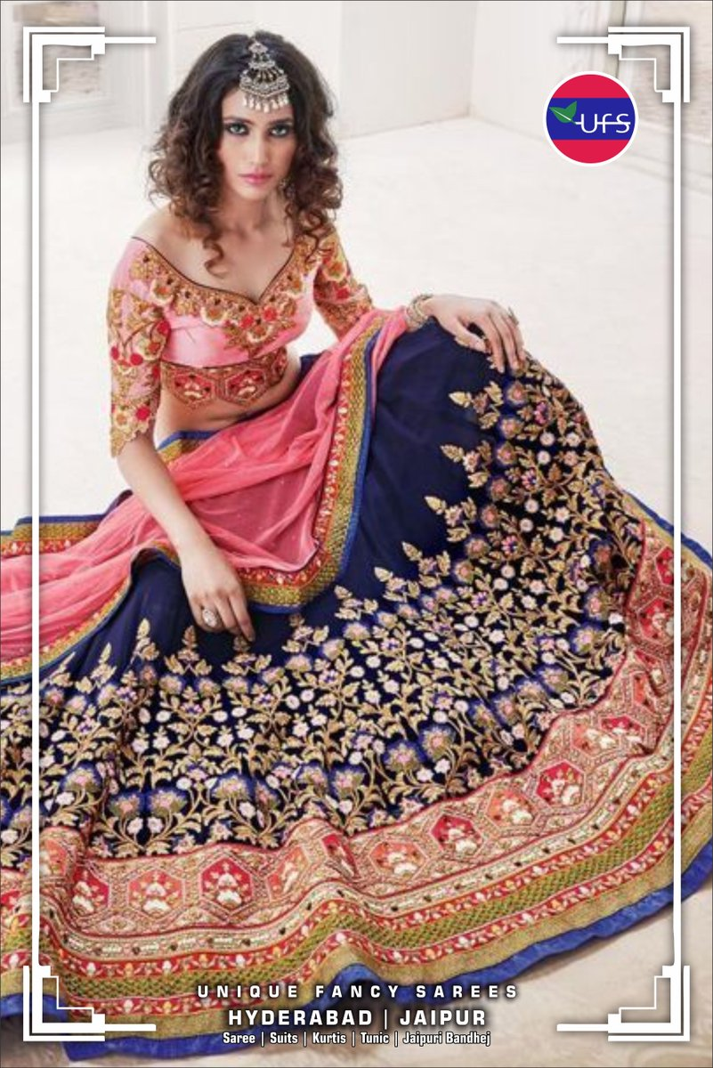 4d0950c1c4 Rich Blue & Baby Pink Lehenga..... For various designer lehenga collection  schedule Visit at Unique Fancy Sarees, Jaipur.. Visit:  https://buff.ly/2NODvjY ...
