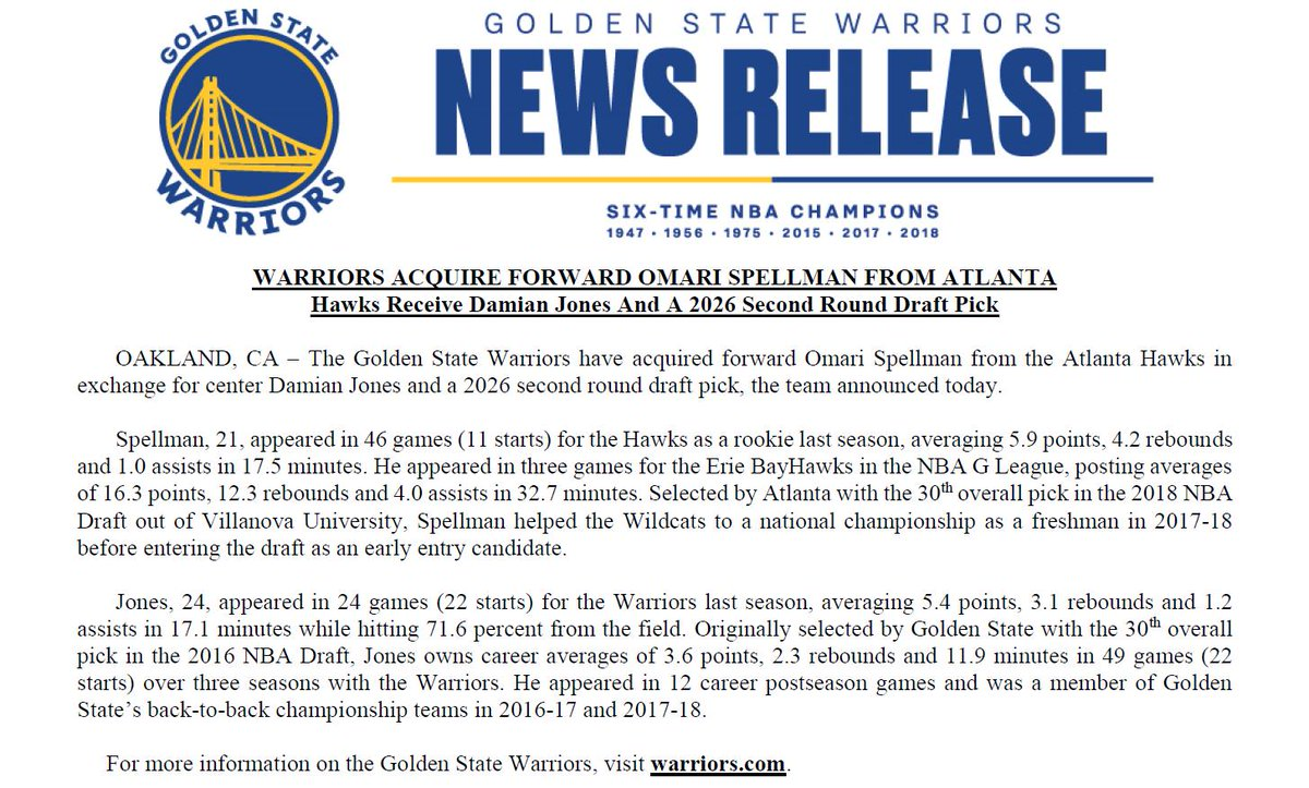 The Warriors have acquired forward Omari Spellman from the Atlanta Hawks in exchange for center Damian Jones and a 2026 second round draft pick: