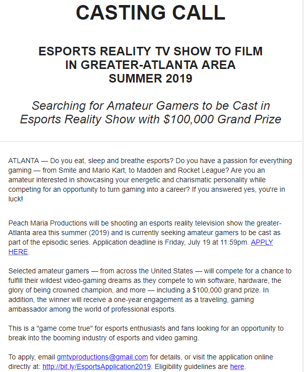 Do you eat, sleep & breathe #esports? Want to win a $100,000 & a trip around the world? Want to be featured in a TV Show?  Peach Maria Productions will be shooting an esports reality TV Show in Atlanta this summer & are looking for talent to cast!  Info: https://mailchi.mp/1a4470d79712/reality-esports-tv-show-402685?e=c68f1b6747 …
