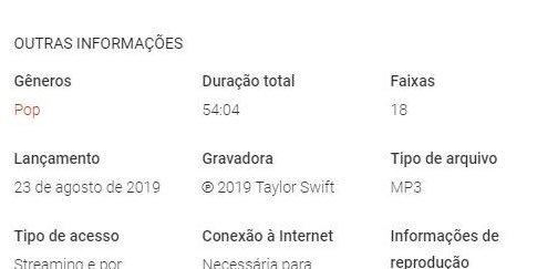 """Loja virtual revela duração do álbum """"Lover"""" de Taylor Swift"""