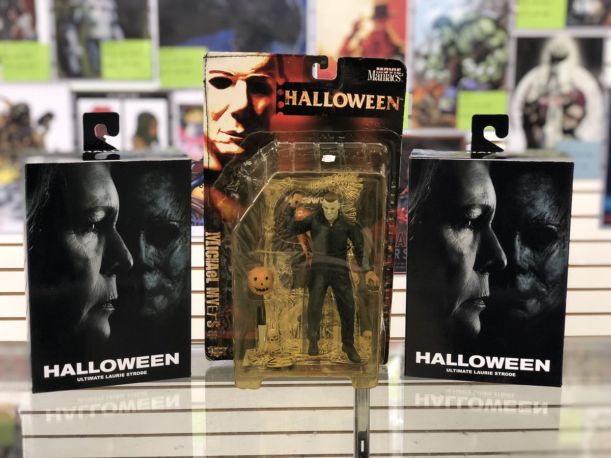 Laurie and Michael are at it again... check out Heroes & Fantasies this week for your Halloween action figures! #Neca #Horror #MichaelMyers #ActionFigures #Collect #Collector #Collectible #LCS #LocalComicShop #SanAntonio