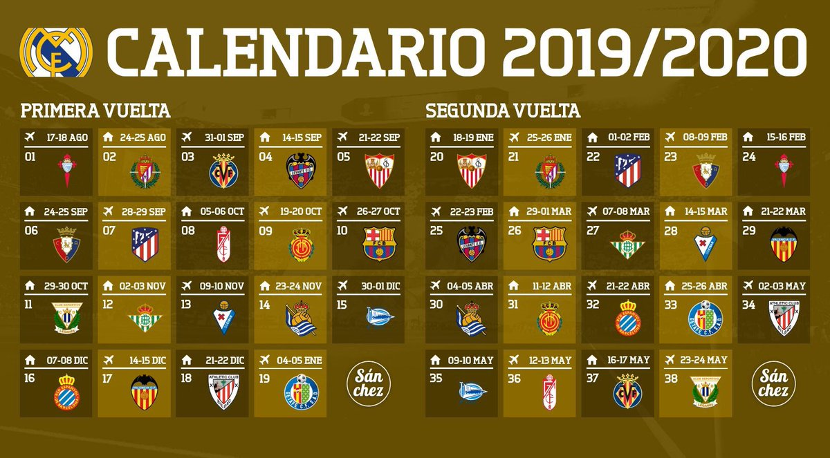 Calendario Real Madrid 2019.Calendario Real Madrid 2019 2020 Rt Para Difundir Https T Co