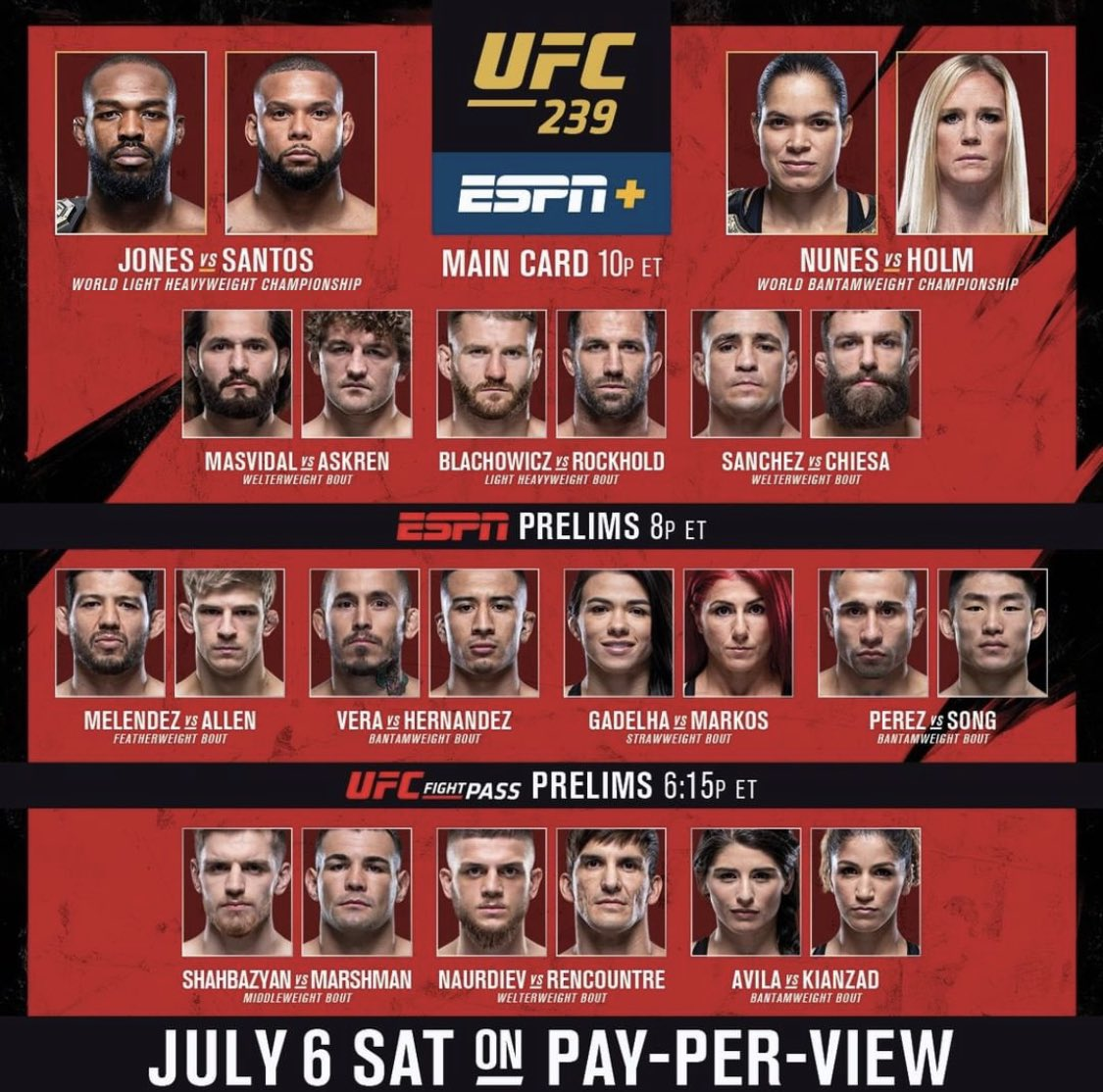 Fight day! Come watch the fights with me live!! #SaturdayNightFights http://mixer.com/FromHellPichel #Mixer #FromHellPichel #Streamer #UFC #Fights #ESPN #UFC239 #MMA