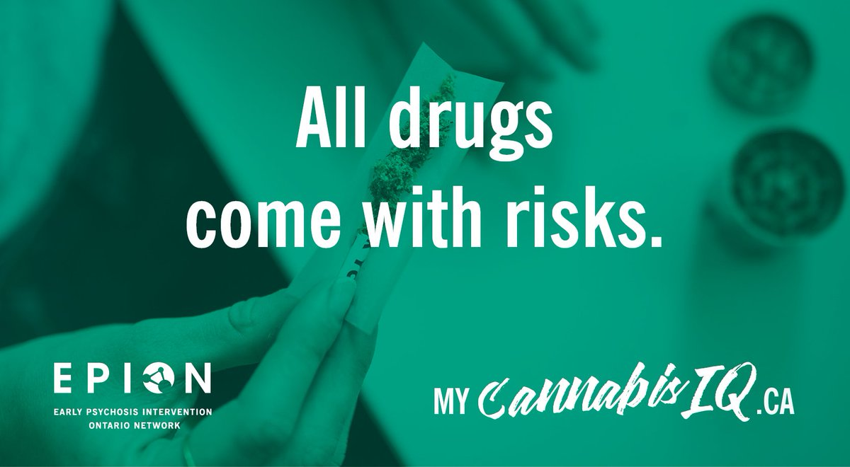 """#CannabisMyth: Cannabis is harmless!  #CannabisFact: Some chemicals in #cannabis are being researched for medical potential in adults. Others--like THC, the """"high""""--have consistently been linked to onset of #psychosis in youth under 25.  #mycannabis  http://www. mycannabisIQ.ca    <br>http://pic.twitter.com/TO8Qwl8OPF"""