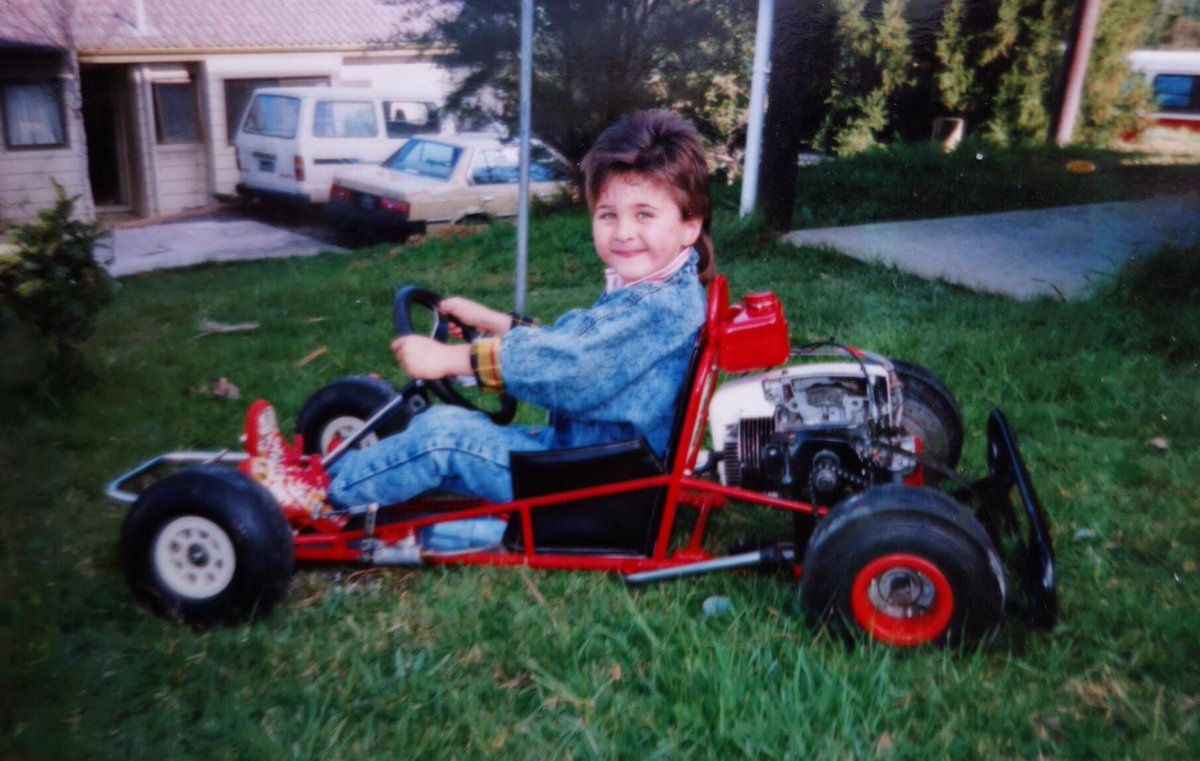 Today I'll start my 400th @Supercars race, here's a 6 year old me where it all began! #FabPack #VASC #DoubleDenim