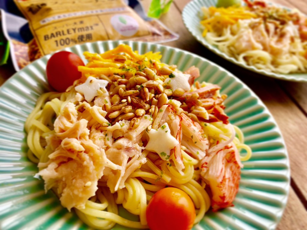 早速冷やし中華にスーパー大麦入れてみました🤩✨  そのまま食べられるから乗っけるだけ楽チン健康 💕  プチプチ食感でいい感じ😍