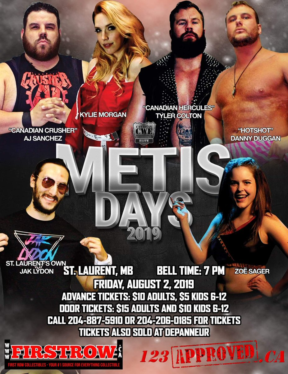 #RT @CWECanada: RT @CWECanada: Canadian Wrestling's Elite kicks off the month of August with a stop in St. Laurent, Manitoba to fundraise for the community a part of the big Metis Days weekend celebration!  Join us for a hot summer night of hot professio…